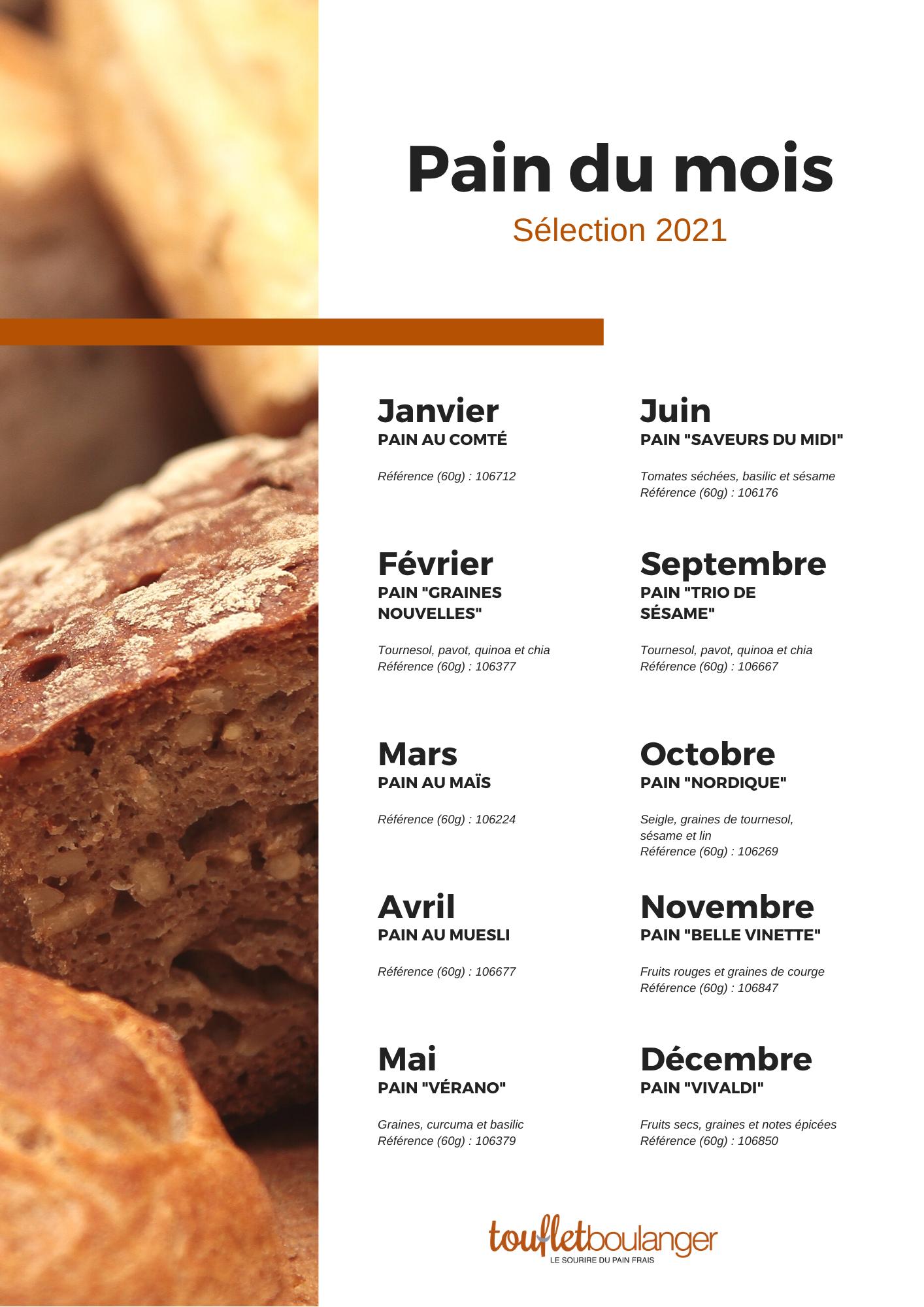 Liste des pains spéciaux 2021